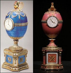 1904 The Chanticleer Egg (Courtesy Tatiana Fabergé) and the 1902 Rothschild Fabergé Egg (Courtesy Christie's)