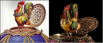 The Two Roosters (Courtesy Tatiana Fabergé for the Chanticleer Egg and Christie's for the Rothschild Egg)