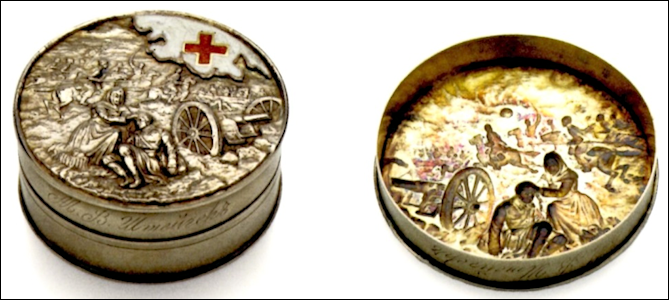"Chased Red Cross Box, Workshop of Anna Ringe before 1912, 2"" in Diameter (Courtesy The McFerrin Collection)"