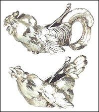 Cockerel and Hen Salt Cellars (von Habsburg, Fabergé, 2000, 111, Private Collection)