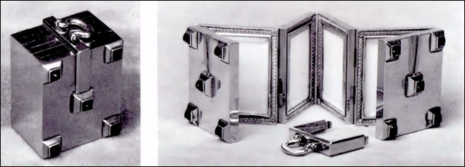 Missing Folding Miniature Frame Surprise Without Alexander III Miniatures by Zehngraf (Snowman, A. Kenneth, Carl Fabergé, Goldsmith to the Imperial Court of Russia, 1979, 56)