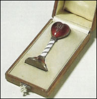 1896 Fabergé Miniature (4½ in., 11.5 cm.) in a 1997 Stockholm Exhibition