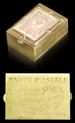 Double Stamp Holder with a 4 Kopeck Stamp  Hinged Base Simulates a French Postcard with Cyrillic Postage Details for Moscow  November 26, 2014  Bonhams London, Russian Sale