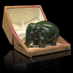Nephrite Model of an Elephant  November 26, 2014  MacDougall's London, Russian Works of Art, Fabergé and Icons
