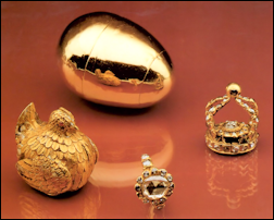 First Fabergé Imperial Egg and a Possible Prototype - Saxon Royal Egg, Collection of Augustus the Strong (1670-1733) (Courtesy Fabergé Museum, St. Petersburg, Russia; Géza von Habsburg)