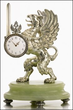 Imperial Presentation Fabergé Silver and Bowenite Clock (Courtesy Sotheby's London)