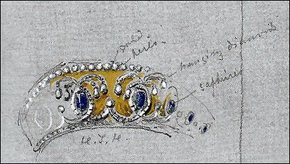 Study (detail) by Nicholas Chevailer of the Jewels Worn by the Tsarevna Dagmar in 1874 (Courtesy The Royal Collection)