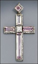 Asymmetrical Topaz Cross Pendants of Grand Duchesses Xenia (left) and Olga Alexandrovich (right) (Courtesy Christie's)