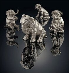 Silver Animal Sculptures by Fabergé (Courtesy Christie's London)