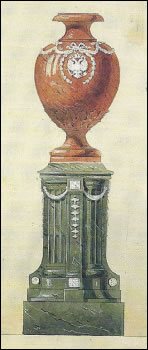 Design Sketch and Fabergé Urn (Courtesy Christie's London and New York Stock Exchange)