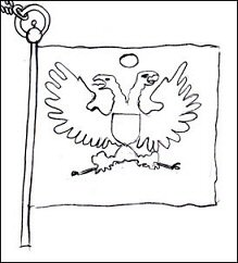 Sketch of the Flag-shaped Jetton with a Double-headed Eagle Based on Putyatin's Drawing (Courtesy of the Authors)