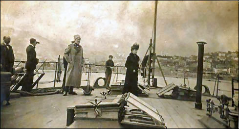 The Dowager Empress and Grand Duke Nicholas Nicholaievich, Jr., Departing Yalta Onboard the HMS Marlborough on 8 April, 1919. (Courtesy Royal Russia)