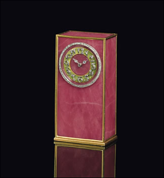 Imperial Cigarette Case - Rhodonite Miniature Desk Clock (Courtesy Christie's London)