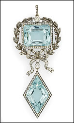 Aquamarine and Diamond Pendant Brooch