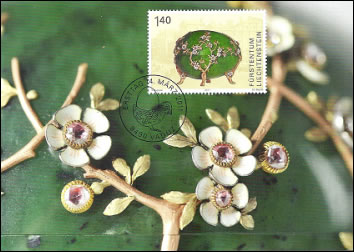 Apple Blossom Eggs on a First Day Postcard, March 4, 2011 (Courtesy Philatelie Liechtenstein)
