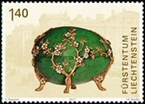 Kelch Apple Blossom Egg and Stamp (Courtesy Liechtensteinisches Landesmuseum and Philatelie Liechtenstein)