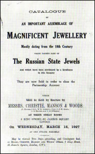 Catalogue of an Important Assemblage of Magnificent Jewellery - Mostly Dating from the 18th Century which Formed Part of The Russian State Jewels (Courtesy Marie Betteley)