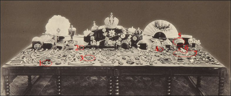 Russian Crown Jewels - Gokhran, 1922. Identified Fabergé Items in Red Circles (Fersman Portfolio, Part I, Frontispiece) Left to Right: #1 Sévigné Brooch, #2 Emerald, #3 Plastron, #4 Ceylon Sapphire, #5 Turquoise Diadem, #6 Turquoise Brooch, #7 Slave Necklace One of the two Ceylon Sapphires, the Rose Brooch and the Magnifying Glass could not be positively identified in this photograph.