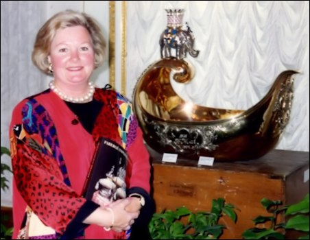 Carol Warner at the 1993 Hermitage Museum Fabergé: Imperial Jeweler Exhibition (Photograph Courtesy of Carol Warner)