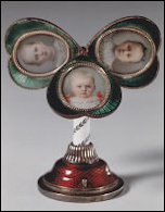 1896 Fabergé Miniature on View in a 1997 Stockholm Exhibition (Welander-Berggren, Elsebeth, Carl Fabergé: Goldsmith to the Tsar, 1997, 161, Photographs © Erik Cornelius, Nationalmuseum Stockholm)