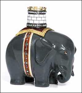 Kalgan Jasper Model of an Elephant and Castle Price Realized: £290,500, $470,610 (Christie's London, November 25, 2013, Lot 216)