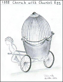 Maria Feodorovna Vitrine in von Dervis 1902 Exhibition, Palmade Drawing, 1888 Cherub with Chariot Egg and Its Reflection