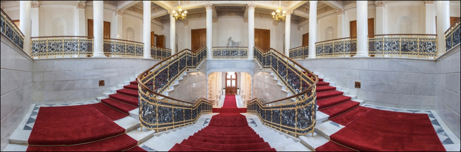 "Grand Stair Case of the Shuvalov Palace Site of the Fabergé Museum in St. Petersburg and the Third International Fabergé Symposium (Courtesy of ""The Link of Times"" Collection)"