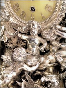 Alexander III 25th Anniversary Clock with Detail, St. Petersburg, 1891, 27 in. (68.5 cm) high (Christie's New York, April 18, 1996, now State Hermitage Collection)