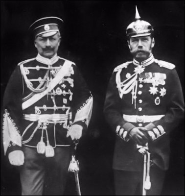 Kaiser Wilhelm II in Russian Uniform and Nicholas in German Uniform (Wiki)