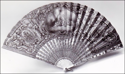 Silk Fan with a Painted Amatory Scene with Pierced and Painted Ivory Sticks, and Pale Blue, Rose, and White Enameled and Gold Jeweled Guard by Mikhail Perkhin, Active 1896-1903 (Courtesy Christie's)