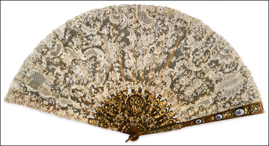 Brussels Lace Fan with Tortoise Shell Guard Marked Mikhail Perkhin on the Loop (Eberle, Catalog #395)
