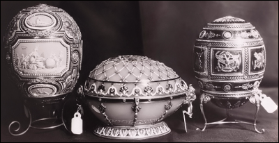 1914 Catherine the Great Egg (MF), the 1894 Renaissance Egg (MF), the 1912 Napoleonic Egg (MF), Photograph ca. 1927-1930 (Courtesy Tatiana Muntian)