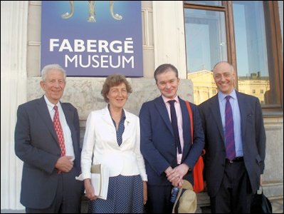Géza von Habsburg, Ulla Tillander-Godenhielm, Kieran McCarthy, Mark Schaffer, Members of the St. Petersburg Fabergé Advisory Board (Courtesy Galina Korneva)