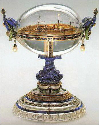 1909 Imperial Standart Egg and the Imperial Yacht Standart (Courtesy Mieks Fabergé Eggs)