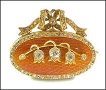 Fabergé Jeweled Gold-Mounted Guilloché Enamel Brooch (Courtesy McFerrin Collection)