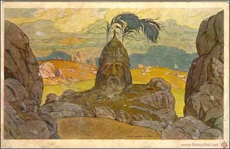 Severed Head of Golovo by Ivan Bilibin, 1900 Art Nouveau Painting for Ruslan and Ludmila Opera (Wiki)