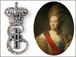 Cipher EII (1762-1796) of Empress Catherine II (Ekaterina II Alekseevna) (1729-1796).  Courtesy McFerrin Collection. Paired with a portrait of Princess E. N. Orlova by Rokotov c.1779.  Courtesy The State Tretyakov Gallery.