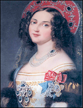 Cipher AME (1825-1826) of Empress Alexandra Feodorovna (1798-1860), Dowager Empress Maria Feodorovna (1759-1828), and Dowager Empress Elizabeth Alekseevna (1779-1826). Portrait of an unknown maid of honor.  Courtesy Peter Collingridge.