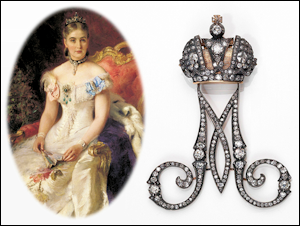 Cipher M (1860-1880) of Empress Maria Aleksandrovna (1824-1880).  Courtesy Bonhams. Paired with a portrait of Princess M. M. Volkonskaia by Makovskii 1884.  Courtesy The National Museum of Georgia, Tbilisi.