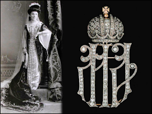 Cipher MA (1894-1917) of Dowager Empress Maria Feodorovna (1847-1928) and Empress Alexandra Feodorovna (1872-1918).  Courtesy Christie's. Paired with a photograph of an unknown maid of honor.  Courtesy the Internet.