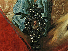Portrait badge of Empress Catherine II (1762-1796). Detail of the portrait of Princess E. N. Orlova by Rokotov c.1779. Beneath it one can see her EII maid-of-honor cipher; and to the left, the sash of the Order of St Catherine (at that time there was only one class of the order). Courtesy The State Tretyakov Gallery.