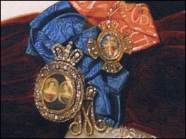 Portrait badge of Empress Alexandra Feodorovna and Dowager Empress Maria Feodorovna (1826-1828). Detail of the portrait of H.S.H. Princess T. V. Golitsyna by Riss 1835. Courtesy The State Historical Museum, Moscow. Beneath it one can see the maid-of-honor cipher of Empress Maria Feodorovna (1796-1801); and above it to the right, the smaller cross of the Order of St Catherine.