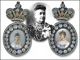 Portrait badge of Empress Maria Feodorovna (1881-1894) and of Empress Alexandra Feodorovna (1894 -1917). Courtesy Sergei Patrikeev. Paired with a photograph of their recipient, E. A. Naryshkina, who received the first in 1891 and the second in 1912. Courtesy the Internet.