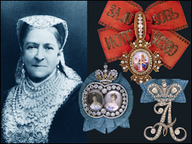 Portrait of Aurora Karlovna Karamzina, née Stjernvall (1808-1902), with a cipher of her empress, Alexandra Feodorovna (1828-1855); a smaller cross of St Catherine, which she received in 1883; and a portrait badge of Dowager Empress Maria Feodorovna and Empress Alexandra Feodorovna (1894-1917), which she received in 1898. (The portrait badge depicted here is the one presented to A. S. Albedinskaia in 1896.) Courtesy Sergei Patrikeev.