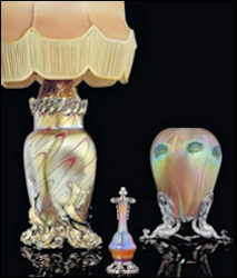 Viktor Aarne (Active 1880-1904) Lötz Glass Lamp, Tiffany Favrile Glass Scent Flask and Vase All with Silver Mounts by Fabergé (Archival Photograph, Courtesy McFerrin Collection)