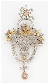 Fabergé Platinum and Multi-colored Diamond Flower Brooch (Courtesy McFerrin Collection)