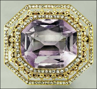 (B) Gold, Diamond, and Amethyst Brooch, Workmaster August Holmström, Circa 1898 (Courtesy Christie's, New York)