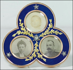 (C) Two-color Gold, Silver and Enamel Photograph Frame, Workmaster Viktor Aarne, Circa 1901 (Courtesy Christie's, New York)