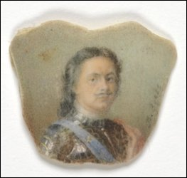 Miniature of Peter the Great, signed on right, В. Зуевь [court miniaturist, Vassilii Ivanovich Zuiev (1870-after 1931)] watercolor, ivory. (Virginia Museum of Fine Arts, Bequest of Lillian Pratt, Photo: Travis Fullerton © Virginia Museum of Fine Arts)