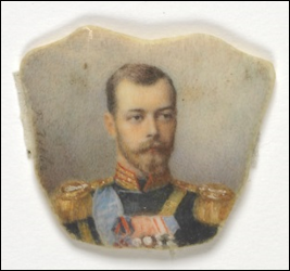 Miniature of Emperor Nicholas II, signed on left, В. Зуевь [court miniaturist, Vassilii Ivanovich Zuiev (1870-after 1931)] watercolor, ivory. (Virginia Museum of Fine Arts, Bequest of Lillian Pratt, Photo: Travis Fullerton © Virginia Museum of Fine Arts)